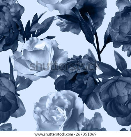 art vintage monochrome watercolor floral seamless pattern with dark grey blue peonies and white roses isolated on white background - stock photo