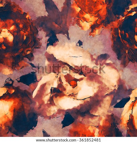 art vintage monochrome watercolor floral seamless pattern  with orange gold and white peonies on light brown lilac background - stock photo