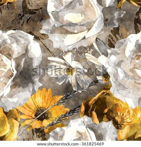 art vintage monochrome watercolor floral seamless pattern with white and gold yellow roses and asters on grey background