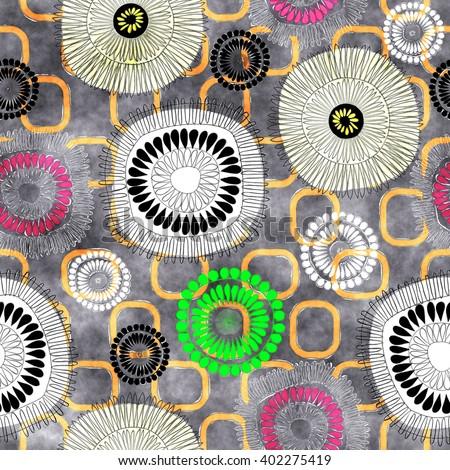 art vintage naive stylized geometric flowers seamless pattern, colored background  - stock photo