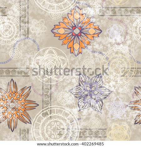 art vintage stylized geometric flowers seamless pattern, colored background with white and beige colors - stock photo