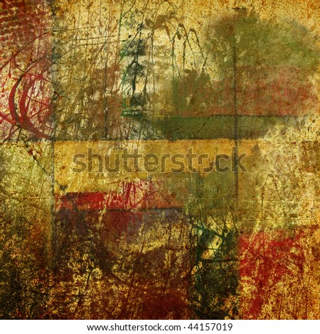 art vintage, textured paper grunge background in beige, green and red colors, with dark inkblots - stock photo