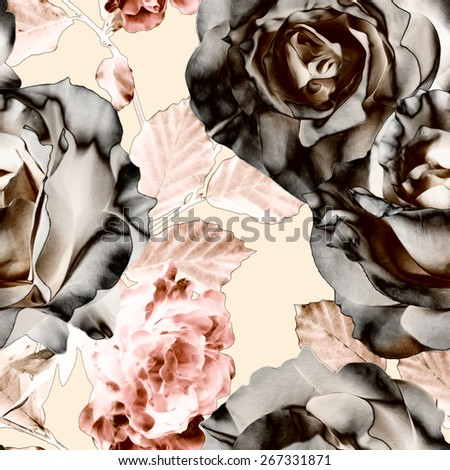 art vintage watercolor and graphic floral seamless pattern with white black roses and pink peonies on light background - stock photo