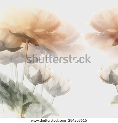 art vintage watercolor blurred floral pattern with golden peonies isolated on white background. Double Exposure effect - stock photo