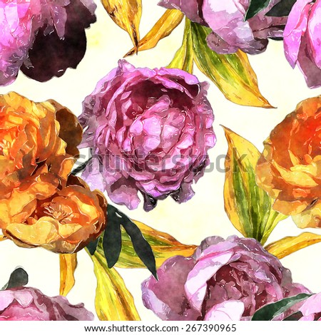 art vintage watercolor floral seamless pattern with gold and pink red peonies isolated on white background - stock photo
