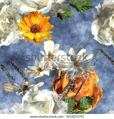 art vintage watercolor floral seamless pattern with white and yellow gold roses and asters on blue background - stock photo
