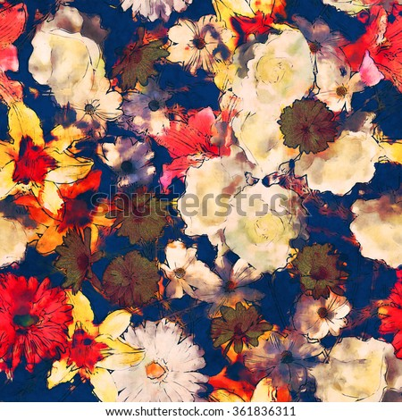 art vintage watercolor floral seamless pattern with white, gold yellow and pink red lilies, roses, asters and gerberas on dark blue background - stock photo