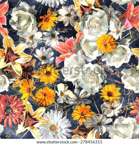 art vintage watercolor floral seamless pattern with white, gold yellow and red roses, lilies and gerberas on blue background - stock photo