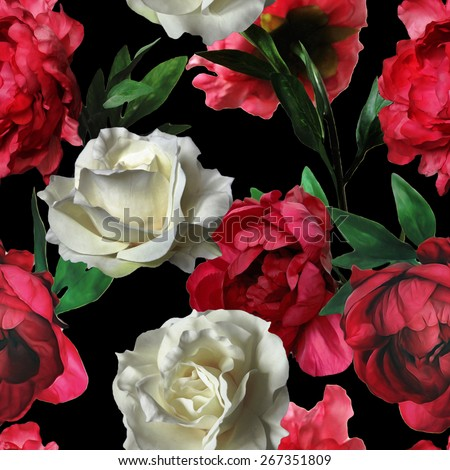 art vintage watercolor floral seamless pattern with white roses and red peonies isolated on black background - stock photo