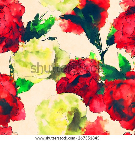 art vintage watercolor floral seamless pattern with white roses and red peonies isolated on light background - stock photo