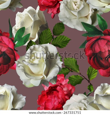 art vintage watercolor floral seamless pattern with white roses and red peonies on purple background - stock photo