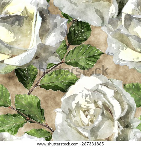 art vintage watercolor floral seamless pattern with white roses on brown background  - stock photo