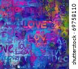 art vintage word pattern background in bright blue, fuchsia, pink, orange and green colors with word love and hearts - stock photo
