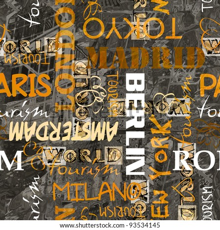 art vintage word pattern background with names of cities - stock photo