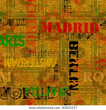 art vintage word pattern golden background with name cities for holidays and travels