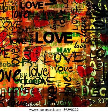art vintage word pattern with love and hearts, bright colorful background with gold, red, black and green colors  - stock photo