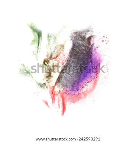art Violet, black, green, red watercolor ink paint blob watercolour splash colorful stain isolated on white background
