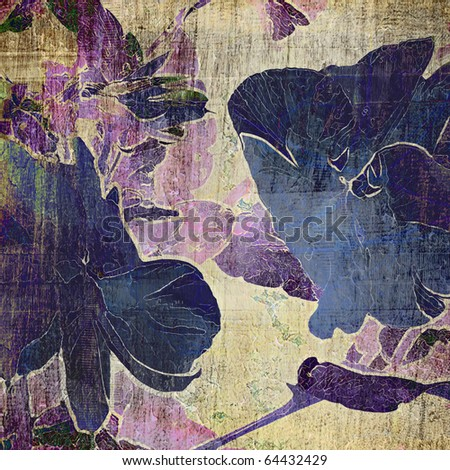 art violets macro floral grunge graphic background in blue, lilac and beige colors - stock photo