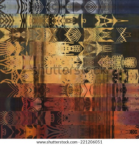art watercolor abstract geometric horizontal stripes pattern background in gold, orange, red, black and blue colors; paper textured vertical seamless ornament - stock photo