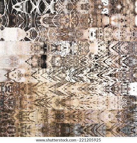 art watercolor abstract geometric horizontal stripes pattern, paper textured lace monochrome background in white, brown, grey, beige and black colors; vertical seamless ornament - stock photo
