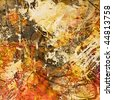 art watercolor and graphic abstract orange, red, old gold, beige and brown grunge monochrome background - stock photo