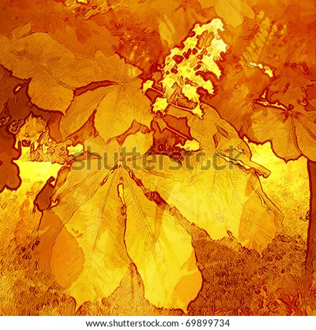 art watercolor and graphic autumn floral grunge monochrome orange, yellow gold and red background with leaves and flowers - stock photo