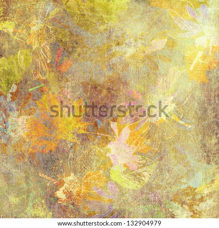 art watercolor and graphic golden autumn leaves background in pastel colors with  plum, olive, gold, brown and white - stock photo