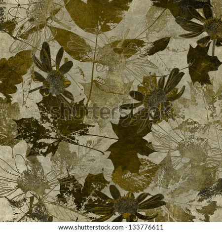 art watercolor and graphic leaves autumn monochrome background in brown and grey sepia colors - stock photo