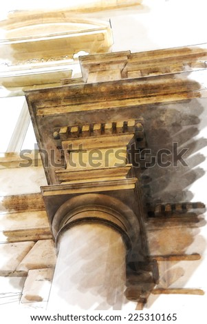 art watercolor background isolated  on white basis with european antique town, Italy, Rome. Detail of classic small-caps - stock photo