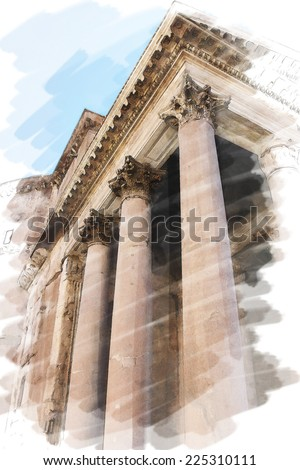 art watercolor background isolated on white basis with european antique town, Italy, Rome. Details arcade of Pantheon - stock photo