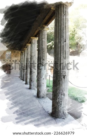 art watercolor background isolated on white basis with european antique town, Pompeii, Italy. Ruins of patio arcade  - stock photo
