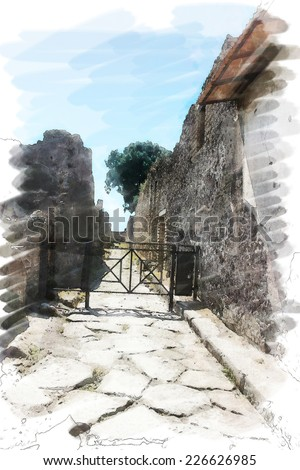 art watercolor background isolated on white basis with european antique town, Pompeii, Italy. Street - stock photo
