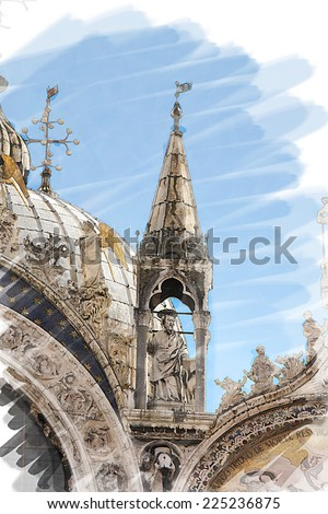 art watercolor background isolated on white basis with facade of St Mark's basilica in Venice, Italy - stock photo