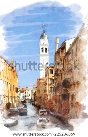 art watercolor background isolated on white basis with street, channel and boats in Venice, Italy - stock photo