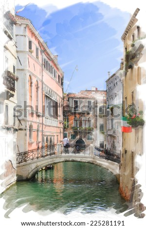 art watercolor background isolated on white basis with street,  channel and bridge in Venice, Italy - stock photo