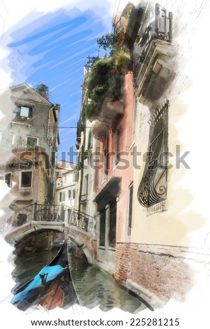art watercolor background isolated on white basis with street, channel, bridge and gondola in Venice, Italy - stock photo