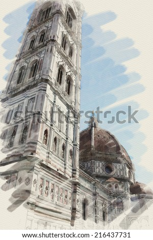 art watercolor background on paper texture with european antique town, Italy, Florence, Santa Maria del Fiore