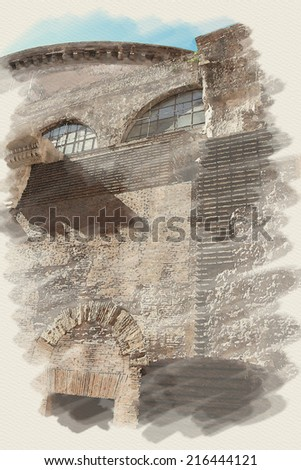 art watercolor background on paper texture with european antique town, Italy, Rome. Detail of Pantheon - stock photo