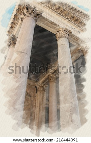 art watercolor background on paper texture with european antique town, Italy, Rome. Details arcade of Pantheon - stock photo