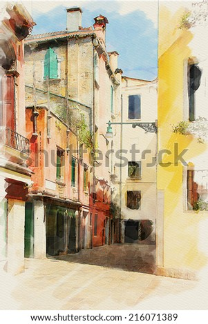 art watercolor background on paper texture with street  in Venice, Italy - stock photo