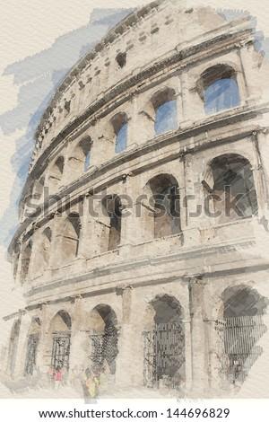 art watercolor background with european antique town, Coliseum - stock photo
