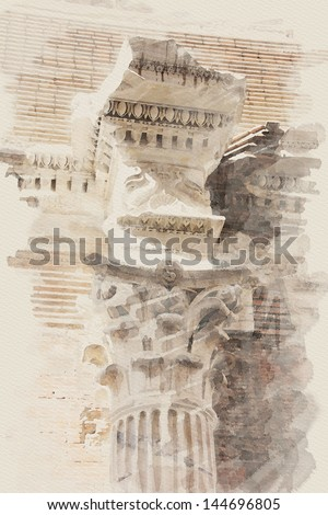 art watercolor background with european antique town, Italy, Rome. Detail of classic small-caps - stock photo