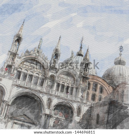 art watercolor background with facade of St Mark's basilica in Venice, Italy - stock photo