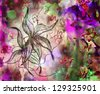 art watercolor background with flower - stock vector
