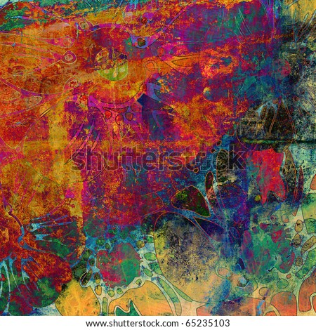 art watercolor floral grunge rainbow background with bright orange, magenta, blue and green colors