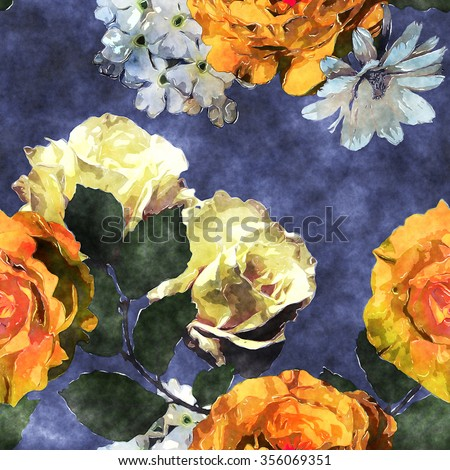 art watercolor vintage floral seamless pattern with gold orange, tea and white roses, phlox and asters on blue background