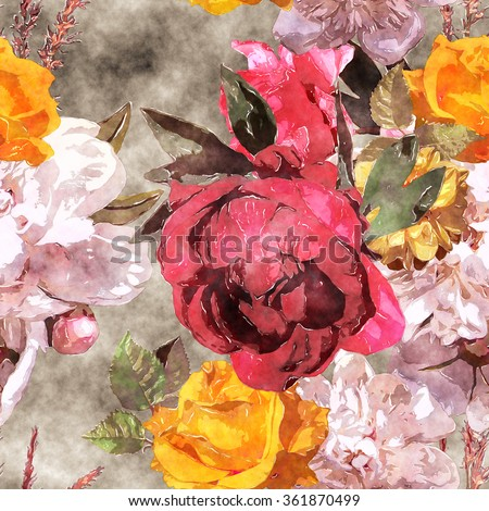 art watercolor vintage floral seamless pattern with white, purple and pink roses and peonies on brown background - stock photo