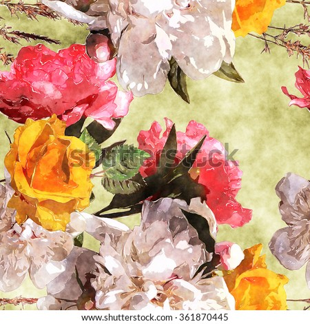 art watercolor vintage floral seamless pattern with white, yellow gold and pink roses and peonies on olive gold background
