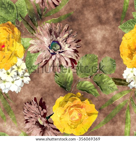 art watercolor vintage floral seamless pattern with yellow gold, brown and white roses, asters, gerbera and phlox on  brown background - stock photo