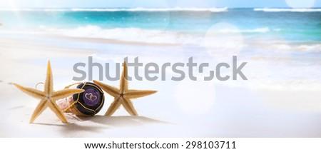 art wedding or honeymoon tropical beach party - stock photo